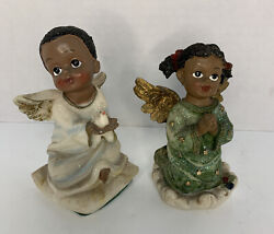 African American Angel Children Figurines Holding Dove Praying 5andrdquo Tall Pair Of 2