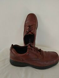 Bass Mens 8 Stanley Leather Lace Up Brown Leather Shoes