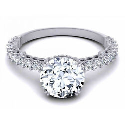 Solid 950 Platinum 0.40 Ct Real Round Diamond Semi Mount Engagement Ring Size 5
