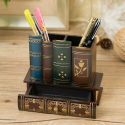 Book Shape Pencil Holder Wooden Case Pen Table Organizer For Home Office Decors