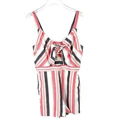 NWT LOFT Beach Striped Tie Cutout Romper Linen Sleeveless Size Medium M NEW L106 $33.19