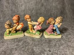Lot Of 3 Lefton Figurines Boys And Girls Playing ADORABLE