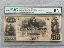 1850's Canal Bank 50 Fifty Dollars, New Orleans Louisiana Pmg Certified