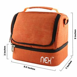 NEX Double Cooler Carry Bag Lunch BagOrange Lunch Tote for TravelSchool Office $4.99