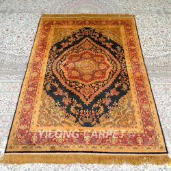 Yilong 4and039x6and039 Handknotted Silk Carpet Unique Pattern Gold Floor Area Rugs Mc317b