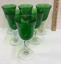 Wine Glasses Goblets Green Glass W/ Clear Twisted Stems Pedestals Set 6 Water