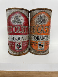 Two 2 Ice Castle 10oz. Soda Flat Top Soda Cans - Canadian