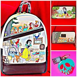 Loungefly Disney Snow White Backpack And Wallet And Poison Apple Book Bag Charm