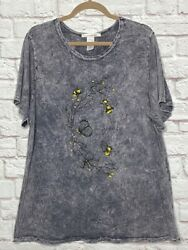 1x/2x/3x New Be Friendly Cotton Charcoal Gray Stretchy Knit Tee Shirt Top