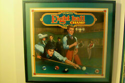Original Backglass Painting Used On Ballys Eight Ball Champ Pinball-pick-up Only