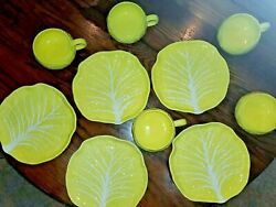 5 Secia Yellow Cabbage Leaf Majolica Pottery Plates And 5 Cups Mugs Portugal 9