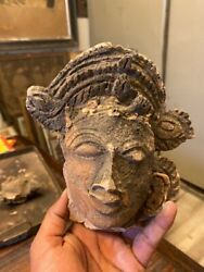 1700's Antique Old Very Old Rare Early Period Hindu Goddess Head Statue