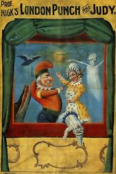 Puppet Theater London Punch Judy Marionette Dolls Vintage Poster Repro Free S/h