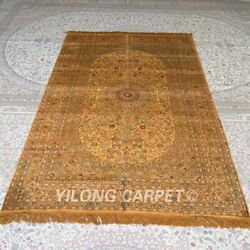 Yilong 5and039x8and039 Handmade Silk Carpet Floral Home Decor Gold Area Rug Mc330b
