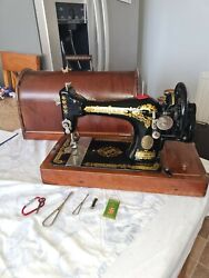 Antique Manual Singer 28k Sewing Machine With Bentwood Case 1920 Vgc