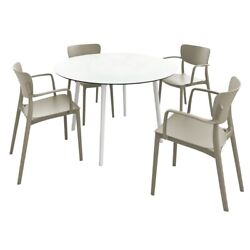 Lisa Round Dining Set With 47 Inch White Table And Taupe Armcairs