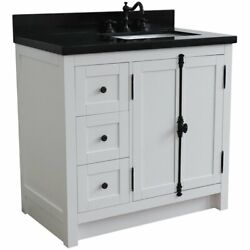 Plantation Solid Wood Single Vanity With Right Rectangle Sink In Ash/black