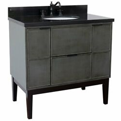 Scandi 37 Solid Wood Single Oval Sink Vanity With Black Galaxy Top In Gray