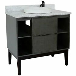 Scandi Solid Wood Single Round Sink Vanity With White Carrara Top In Gray