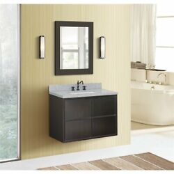 Scandi Wall Mount Rectangle Sink Solid Wood Vanity In Cappuccino/gray
