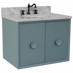 Stora Solid Wood Wall Mount Oval Sink Vanity With White Carrara Top In Blue