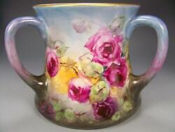 Limoges Hand Painted Roses Loving-cup 8 X 7 Large Vase