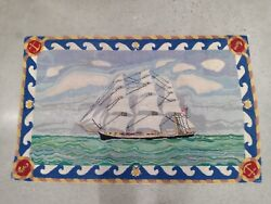 Vintage Wool Hooked Rug Hand Made By Horatio Mckay- Clipper Ship Boat 53 X 28andnbsp