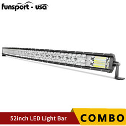 52inch 396w Curved Led Work Light Bar Offroad Driving Spot Flood Combo Truck Suv