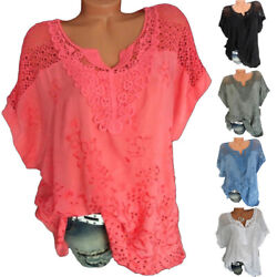 Womens Summer V Neck Short Sleeve T Shirt Casual Lace Blouse Loose Solid Top Tee $14.85