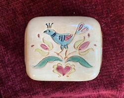 Rare Pennsbury Pottery Pea Hen Bird And Heart Covered Butter Dish