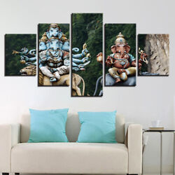 Ganesh God Figure Picture 5 Panel Canvas Print Wall Art Poster Home Decoration