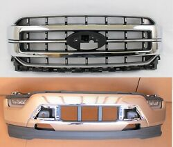 2021 - 22 Ford F-150 Front Bumper Cover Grille Set Assembly Chrome