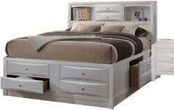 Eastern King Bed Dresser Mirror Night Stand White Contemporary Wooden Furniture
