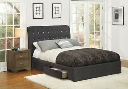 Sleek Style Dark Gray 1pc Eastern King Size Contemporary Bed Bedroom Furniture