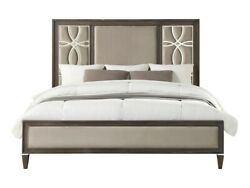 Two Tone Color Queen Size Bed Low Profile Footboard Light Fabric Upholster 1pc