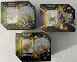 [lot Of 3]pokemon Trading Card Game Shining Fates V Tins Factory Sealed