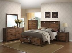 Contemporary Head And Footboard Oak Finish Queen S.bed Dresser Mirror And Nightstand