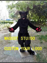 Black Wolf Mascot Costume Suit Cosplay Outfit Halloween Adult Party Game Dress