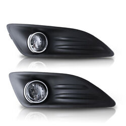 Fog Lights For 14-19 Ford Fiesta Clear Lens Assembly Lamp Pair Wiring Kit+switch