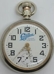 Antique Working 1908 Cadillac Rare Auto Advertising Dial Waltham Pocket Watch