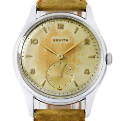 Zenith Oversized Winding Tropical Dial 37mm Steel Menand039s Very Rare Wrist Watch
