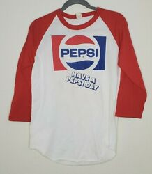 Rare Have A Pepsi Day Baseball Tee Shirt Vintage Retro Red Stains