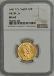 1927 Colombia Gold 5 Pesos Medellin Ms64 Ngc 943867-3