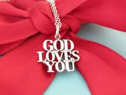 And Co Silver Vintage God Loves You Pendant Necklace 18