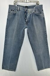 Hugo Boss Scout Regular Fit Button Fly Jeans Mens Size 40 Blue Meas. 37x30