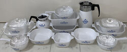 Early 1960andrsquos-1970andrsquos Vintage Cornflower Blue Corning Ware Lot Collection