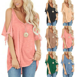 Summer Women Solid Lacing Casual T Shirt Cold Shoulder V Neck Blouse Loose Top $13.83