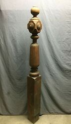 Antique Decorative Turned Oak Wood Newel Post 7x72 Vintage Old Staircase 365-21b