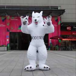 2019 Christmas 2m 2.6m 3m Inflatable White Long Fur Wolf Mascot Easter Adults A+