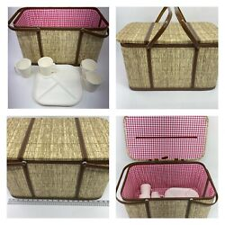 Redmon Vintage Large Wicker Woven Picnic Basket Red Gingham Interior With Dishes